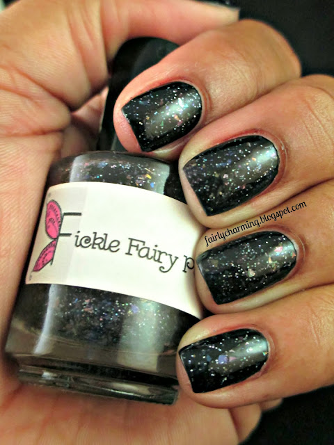 Fickle Fairy Potions, Platonic Love, black jelly, flakies, holo, glitter, jelly sandwich, nails, swatch