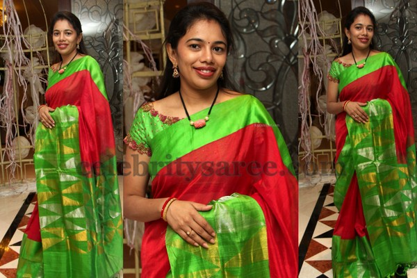 Red and Green Temple Border Sari