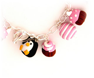 Cupcakes & Tea Charm Bracelet Commission, handmade from polymer clay