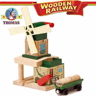 Childrens toy model steam tram Toby's Windmill Thomas & Friends Wooden Railway Set mill location