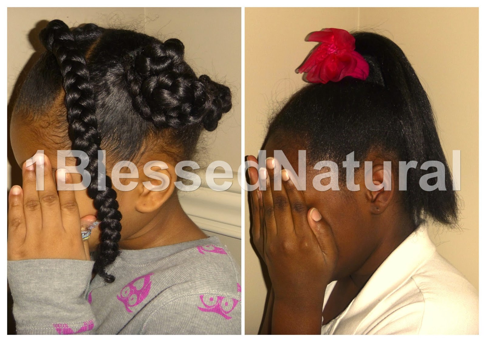 Copyright 2015- 1BlessedNatural Flowered Ponytail, Braided Bun