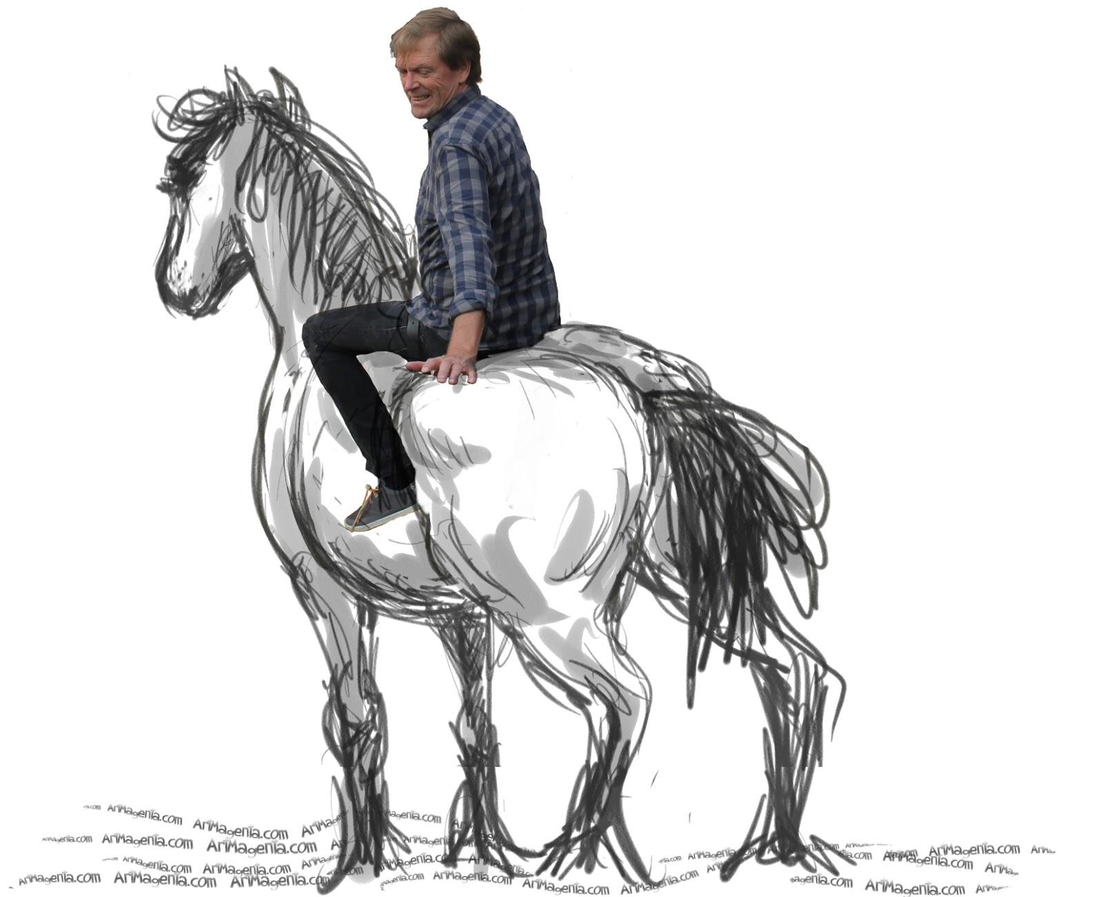 Barbackaridning, teckning av en häst