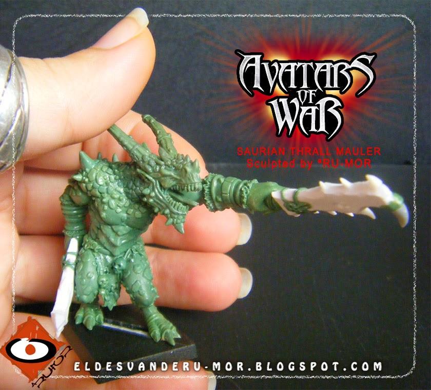 Miniatura hecha por ªRU-MOR para Avatars of War, Saurio mutilador, fantasy, Wayne England