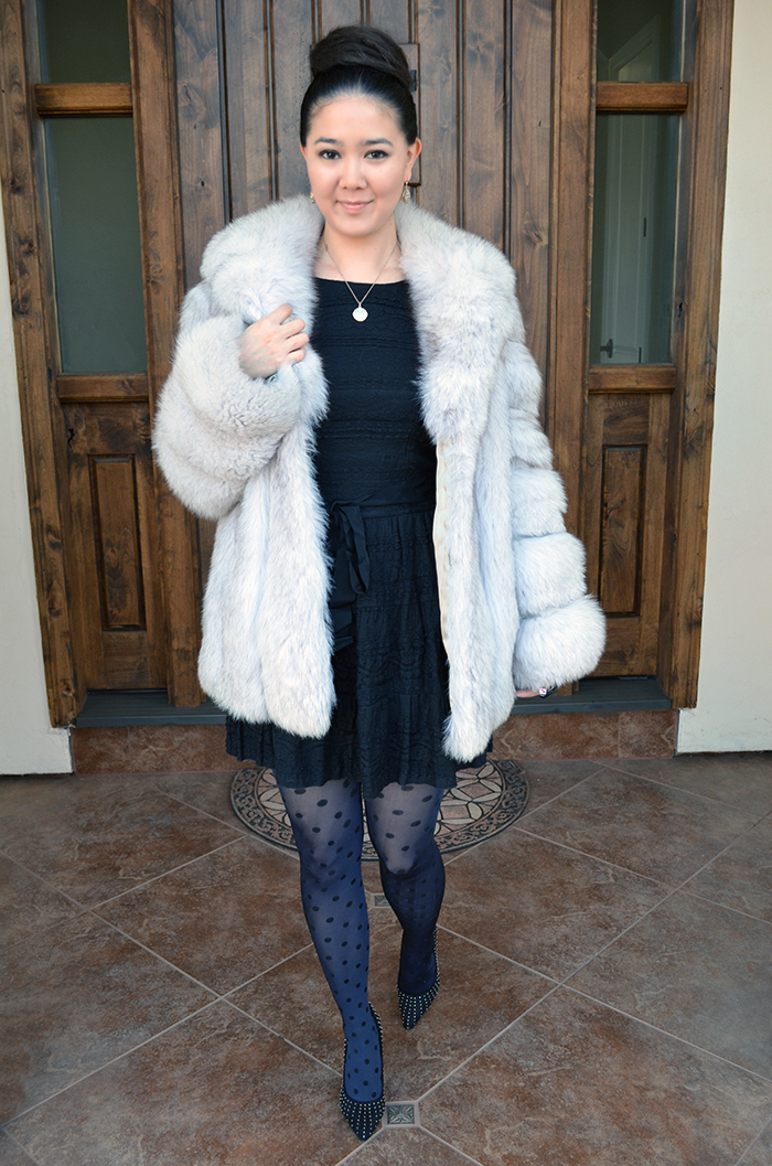white fur coat outfit