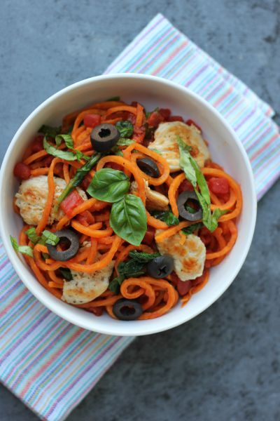Spiralized Sweet Potato Puttanesca
