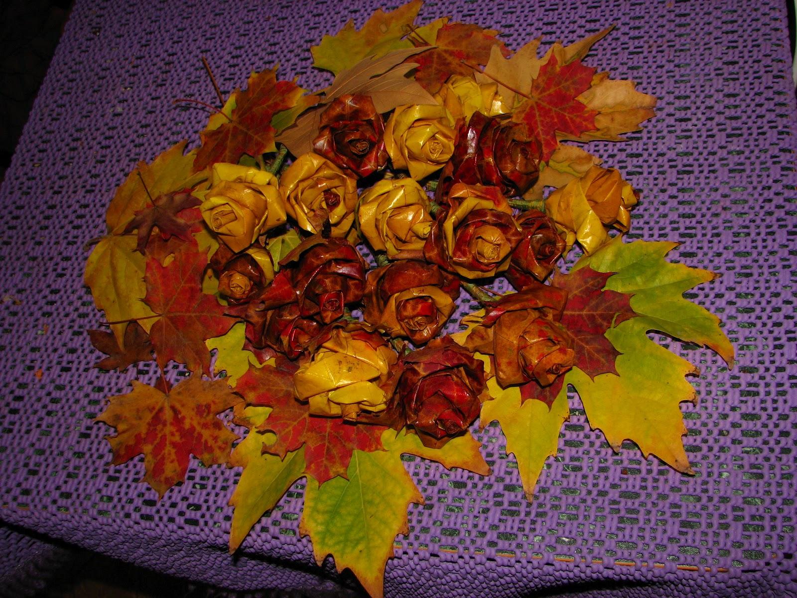 Цветы из листьев клена своими руками 42