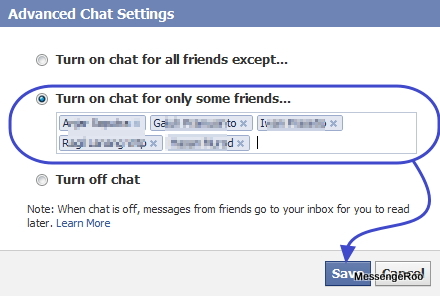 Facebook Advanced Chat Setting turn on chat for only some friends