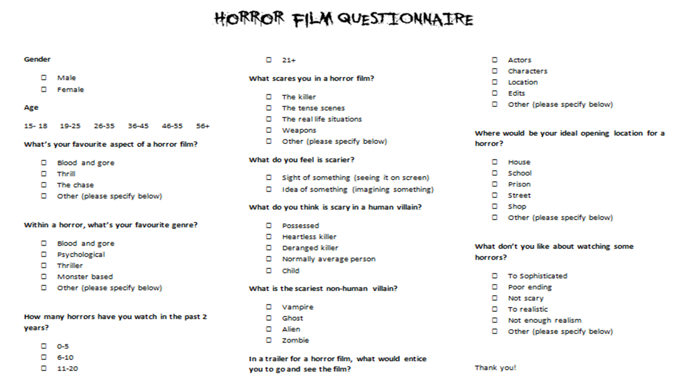 Horror film questionnaire