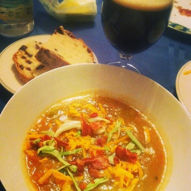 Irish Potato Cabbage Soup Served with Bacon, Cheddar and Guinness. Cooking Chat recipe.