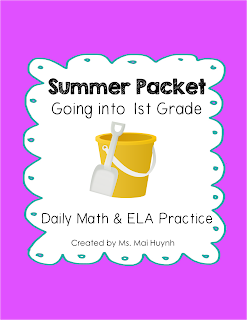 https://www.teacherspayteachers.com/Product/Summer-Packet-Going-into-1st-Grade-1854268