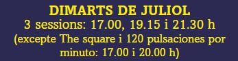 HORARIS SESSIONS DIMARTS DE JULIOL