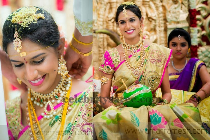 Bride in Uppada Floral Saree