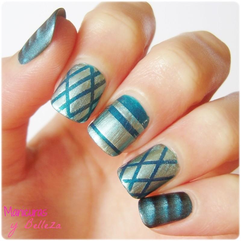 Manicuras y Belleza: Mix de diseños de uñas geométricos con striping ...