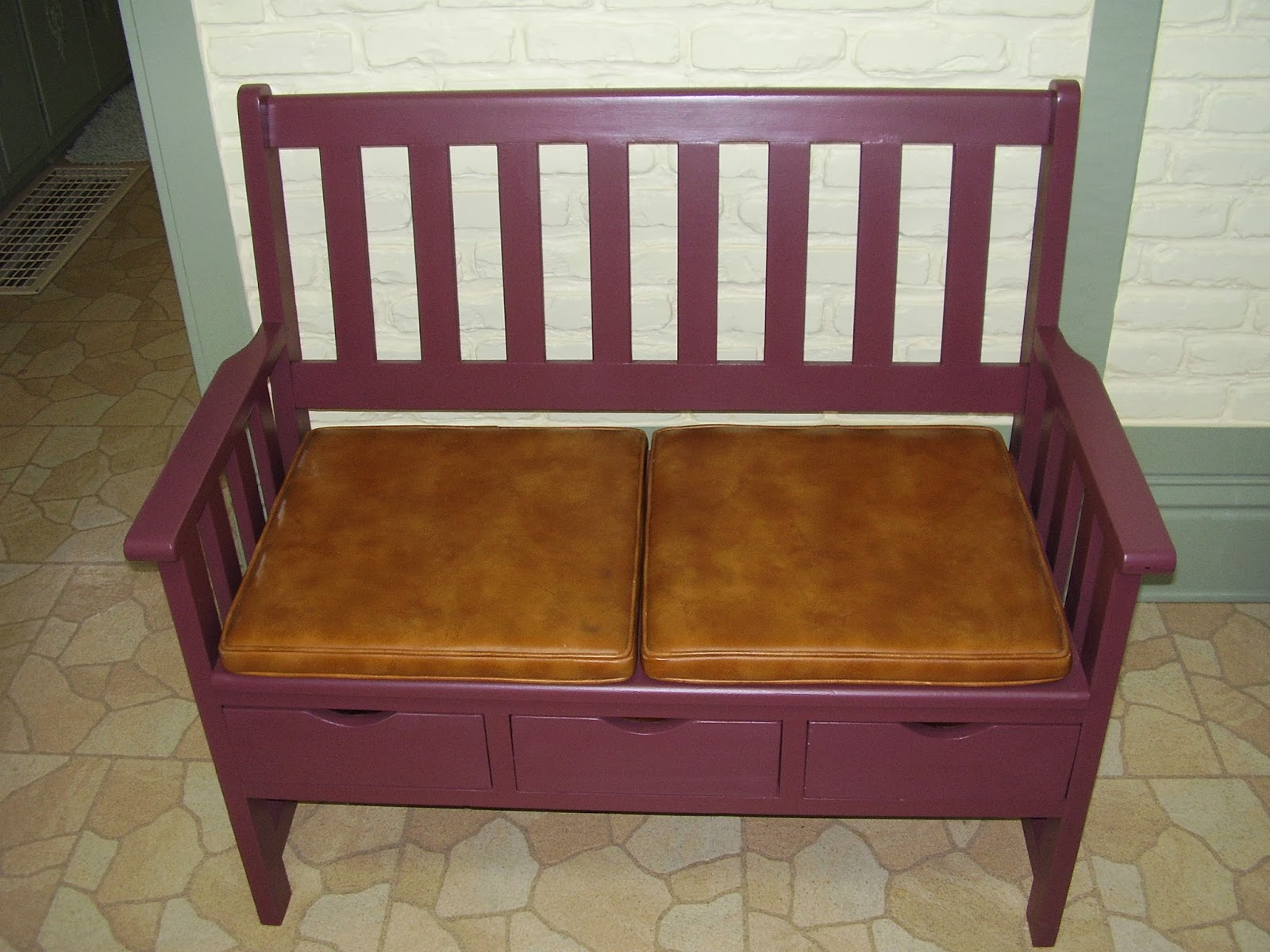 #91643A  Wood Bench With Cushion For Foyer Entryway Or Whatever  $110  SOLD with 1600x1200 px of Most Effective Entryway Bench Cushions 12001600 wallpaper @ avoidforclosure.info