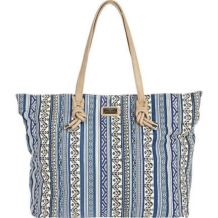 Blue Aztec Print Stripe Tote Bag - River Island £25.00