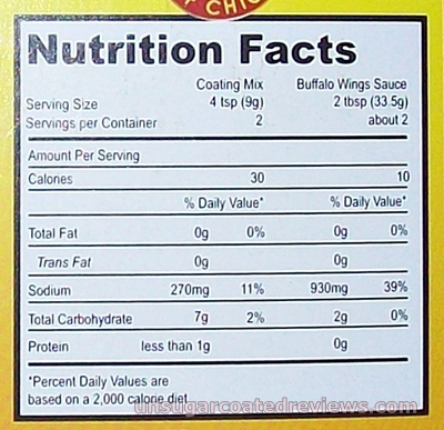 McCormick Buffalo Wings Seasoning Mix (Screamer Flavor) nutritional information