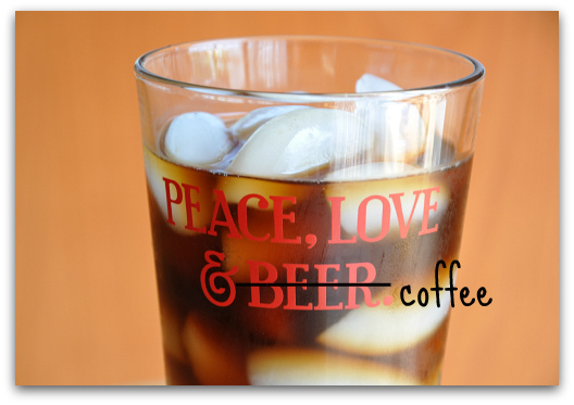 peace love and coffee glass
