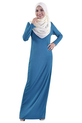 Model Rok Longdress Pensil Muslimah Polos Biru