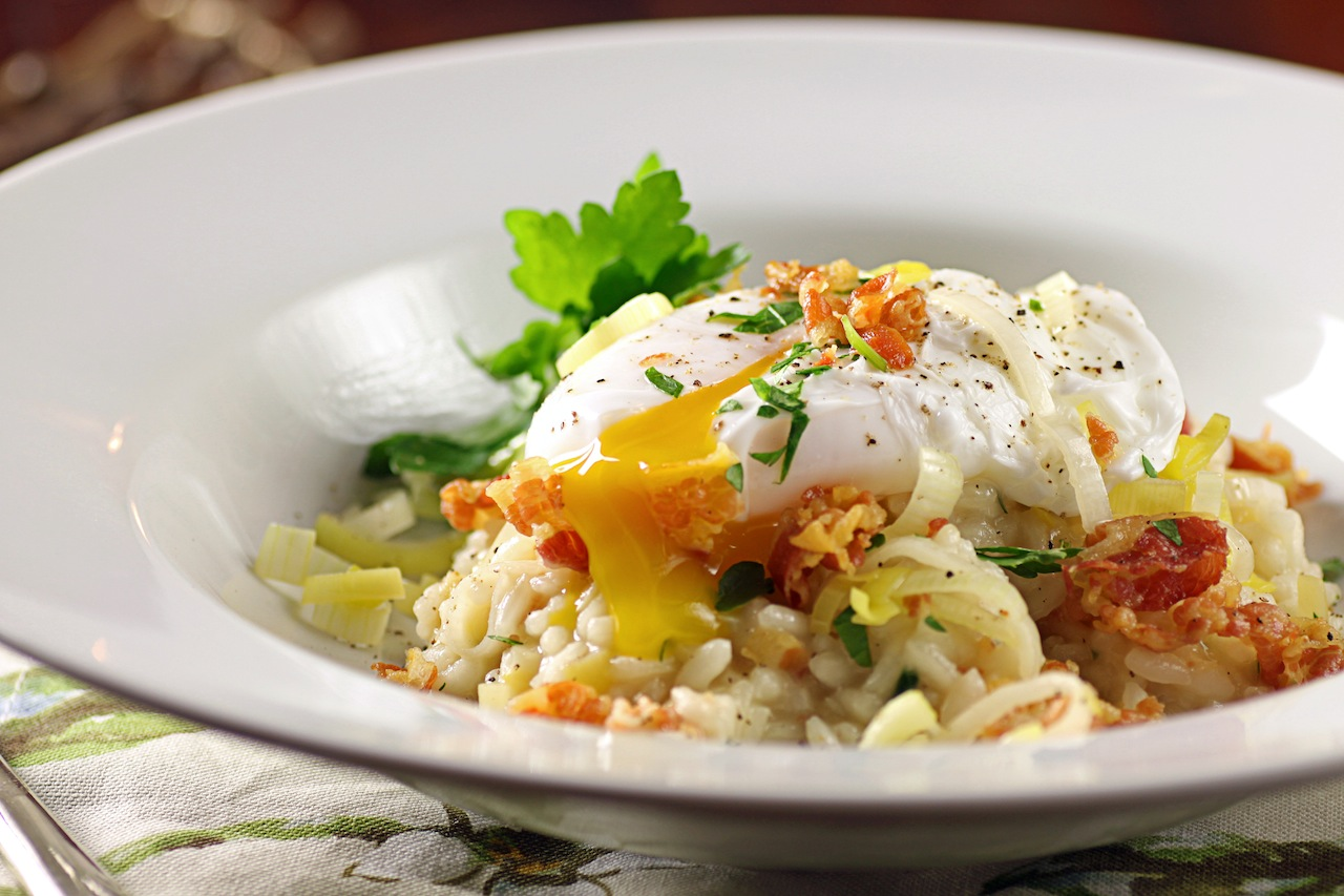 Leek and Pancetta Risotto with Poached Egg