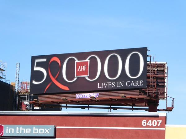 500000 AHF lives in care billboard