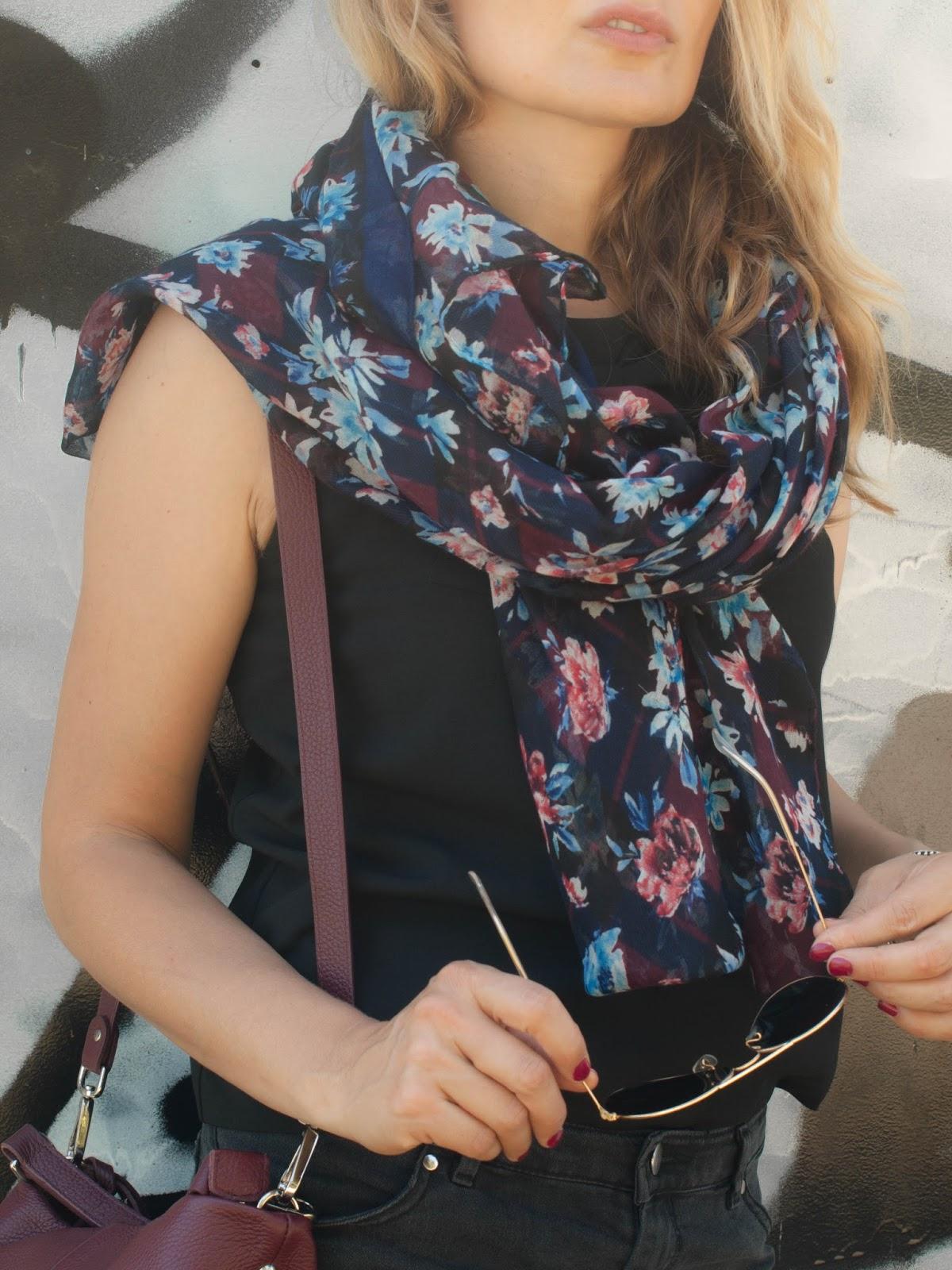 Zara floral scarf, Zara scarf, Zara fall 13, HM fall collection 13, Dark florals, moody florals, floral scarf, Zoya nail polish in Vanessa