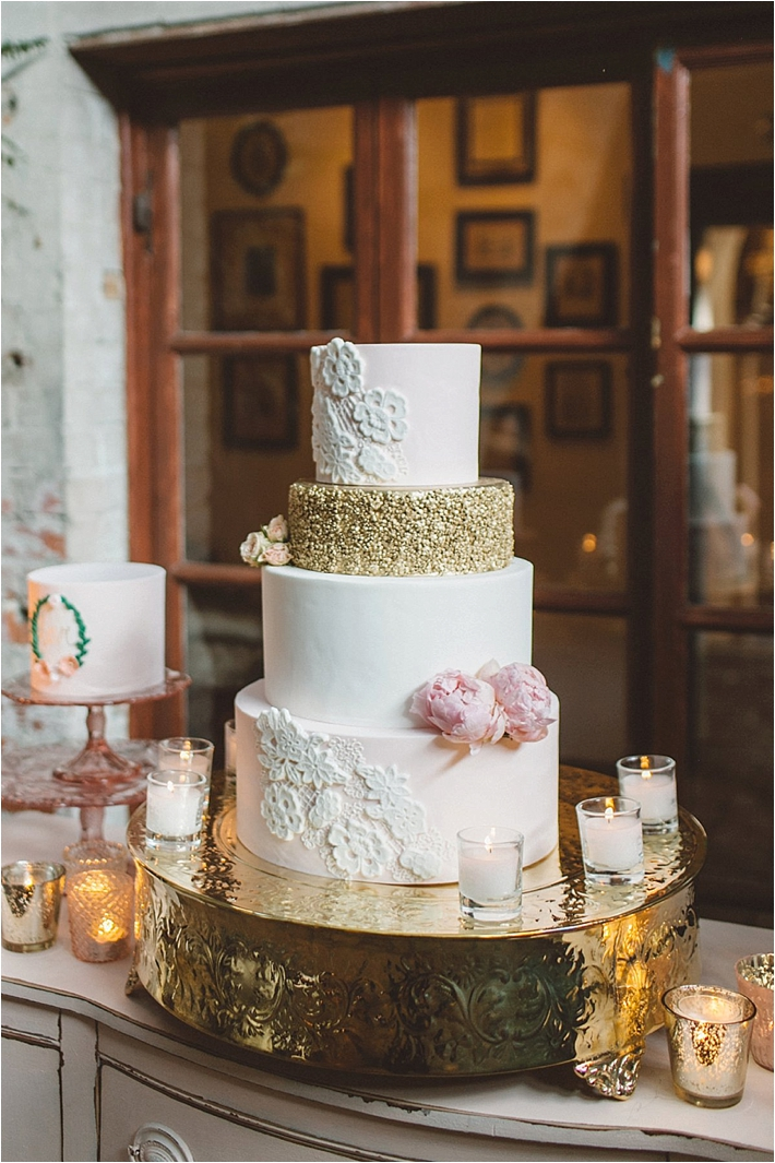 Stunning pink and gold wedding cake