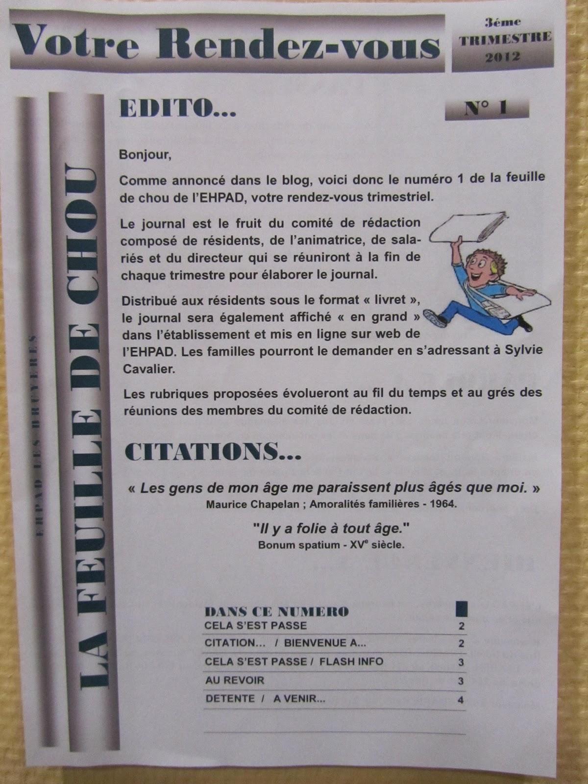 EHPAD LES BRUYERES: LE JOURNAL DE L'EHPAD.