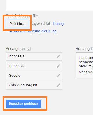 Unggal file untuk riset keyword di Google Adwords