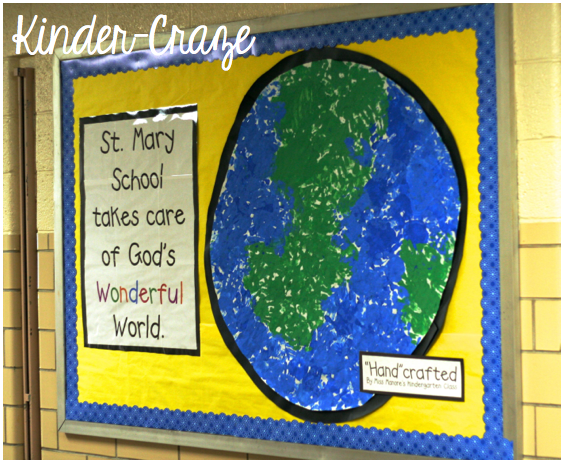 handprint Earth bulletin board display for Earth Day