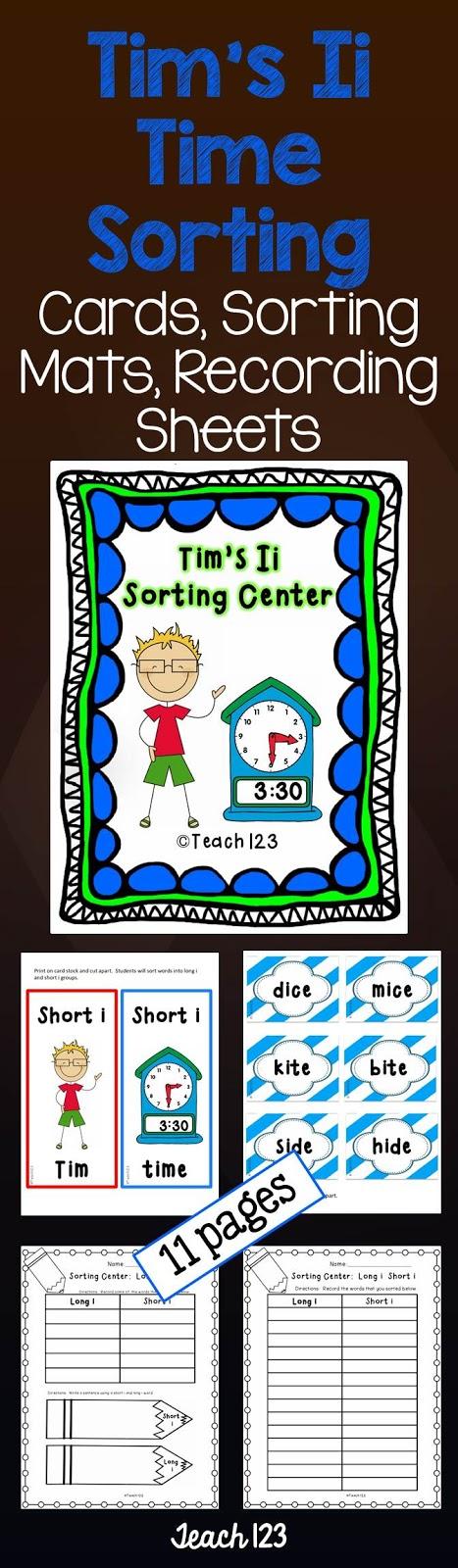 Teach 123's Tim's Ii Time Sorting Center at TeachersPayTeachers