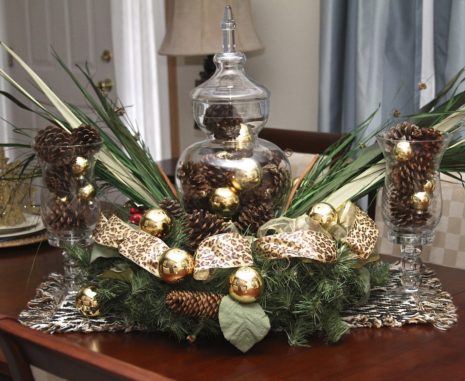 To Dress Up The Wreath I Added Additional Pine Cones, Ornaments, Ribbon &  Greenery I Then Flanked Each Side Of The Centerpiece With Glass Vases