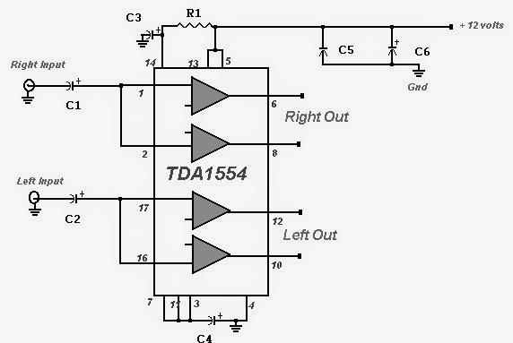 22 Watt Stereo Amplifier circuit diagram.