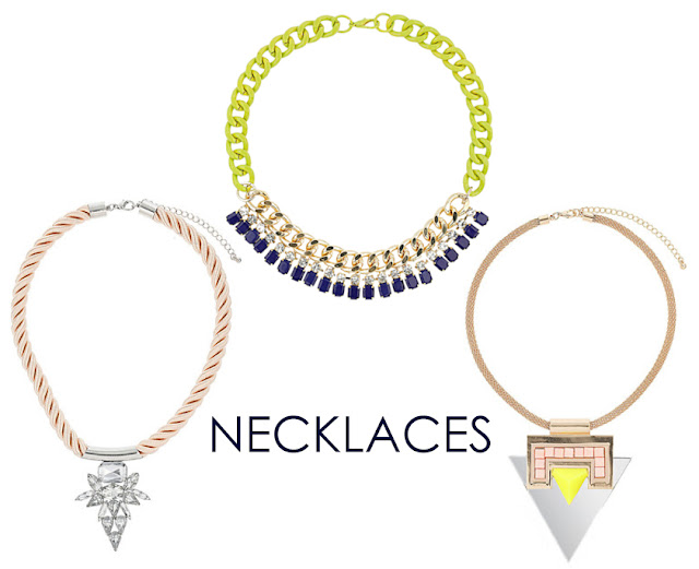 topshop, jewelry, spring, necklaces, neon, chain, cord, triangles, jewels, citrus, gold, geometric
