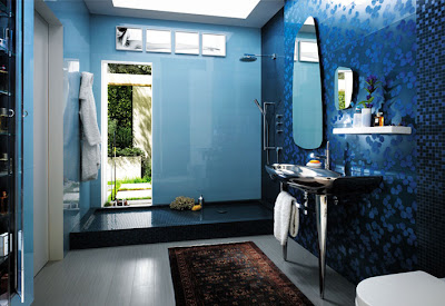 baño color azul