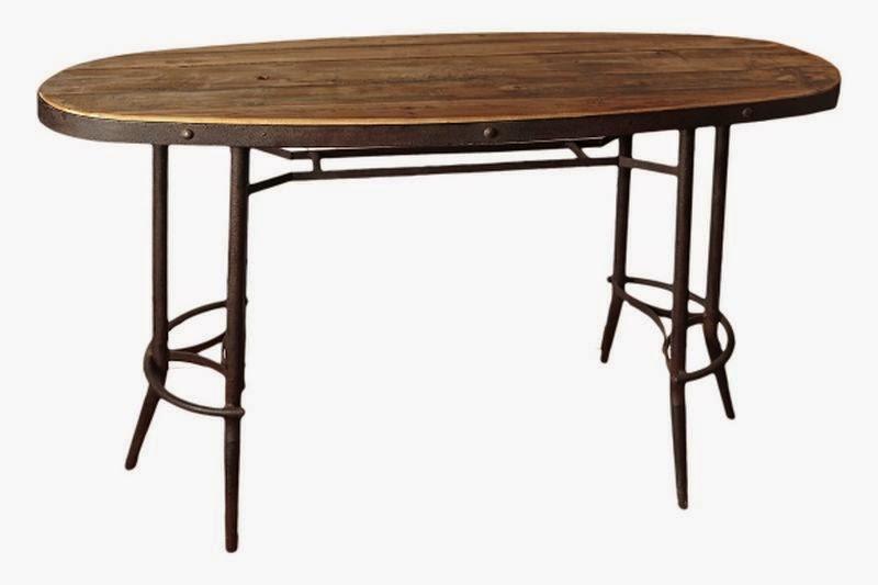 Mesa oval de forja y madera