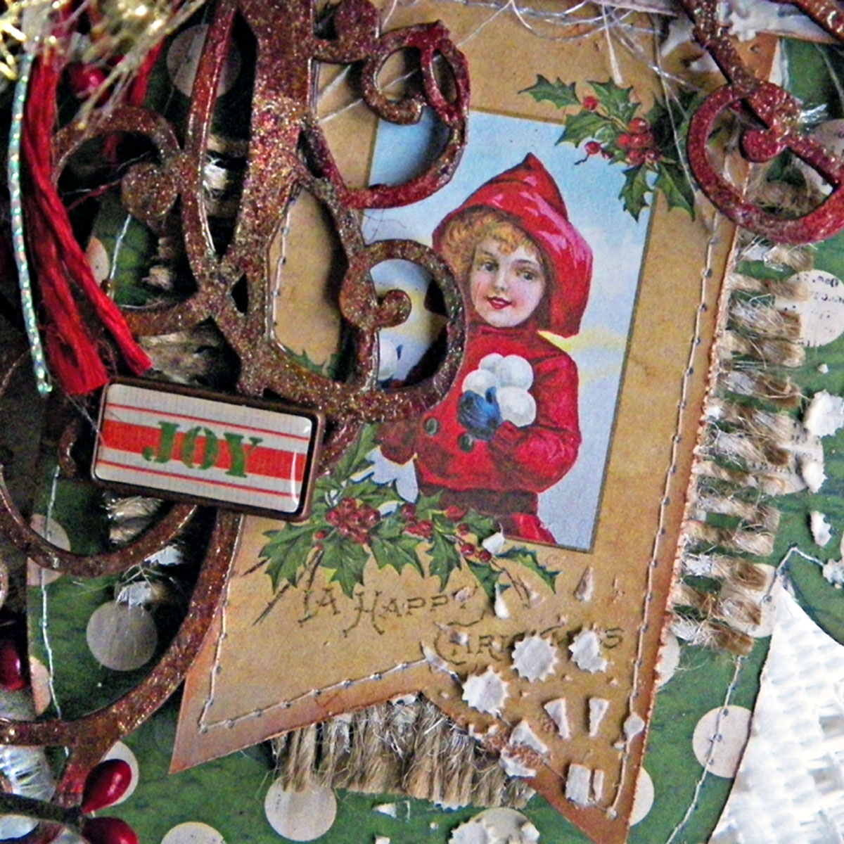 Joy Card Close Up 01 by Lisa Novogrodski using BoBunny Christmas Collage 01