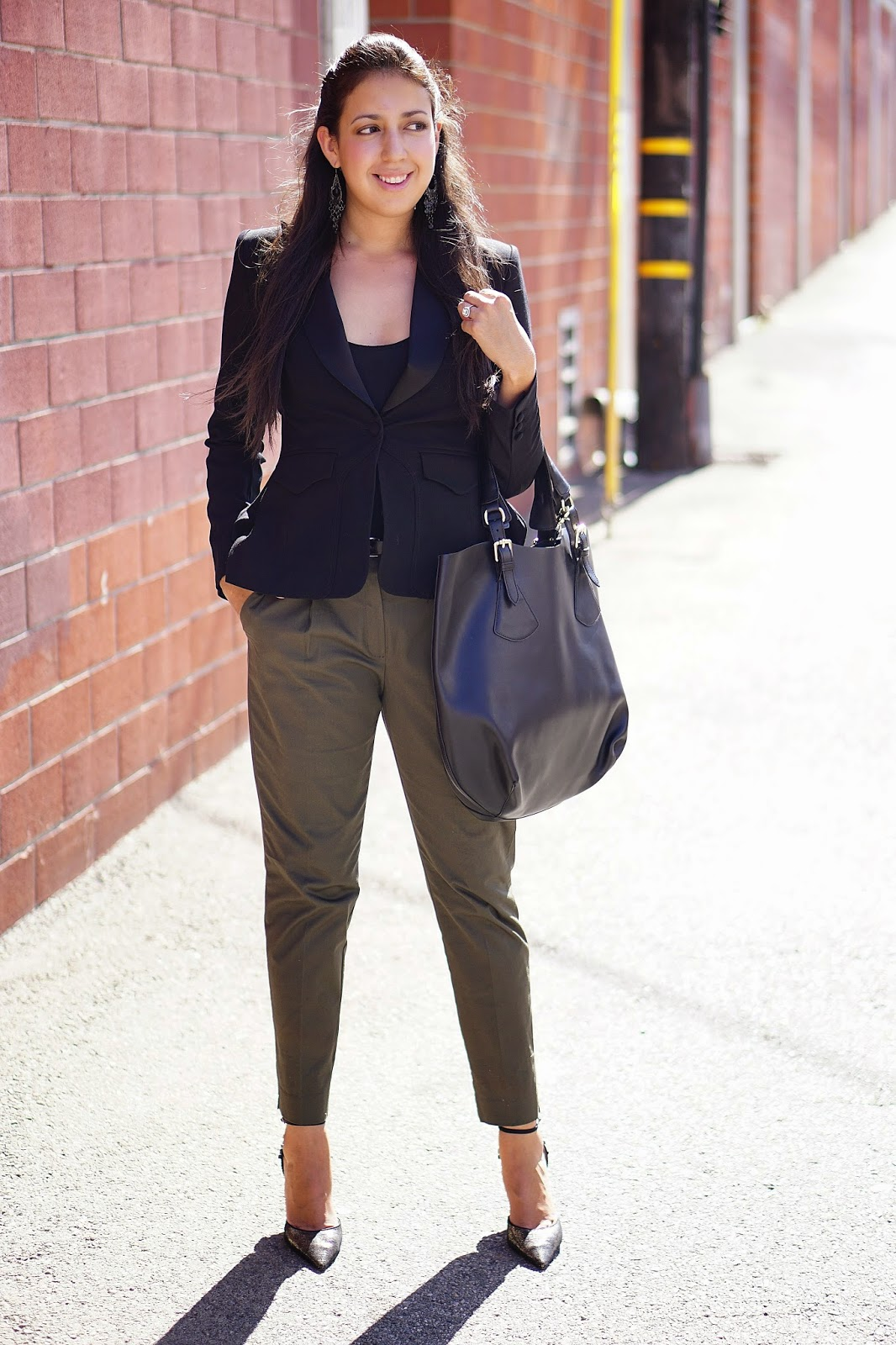 Foreign Exchange, Altuzarra for Target Black Blazer, MNG by Mango Olive Pants, JCPenney, Nina Shoes, Burlington Coat Factory, TJ Maxx, Black bucket bag, Fall Outfit Ideas