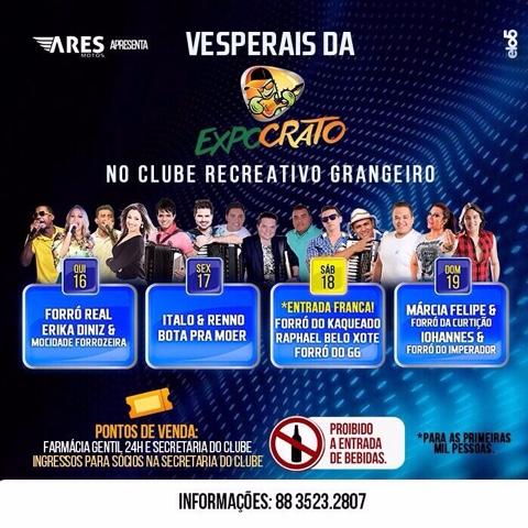 NA EXPOCRATO 2015 A FESTA É TAMBÉM NO CLUBE RECREATIVO GRANGEIRO