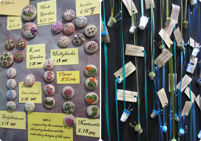Embroidered buttons and pincushion necklaces - Knitting and Stitching Show