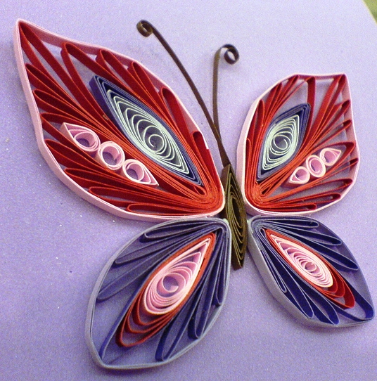 Beautiful quilled butterflies art craft projects for Quilling paper craft