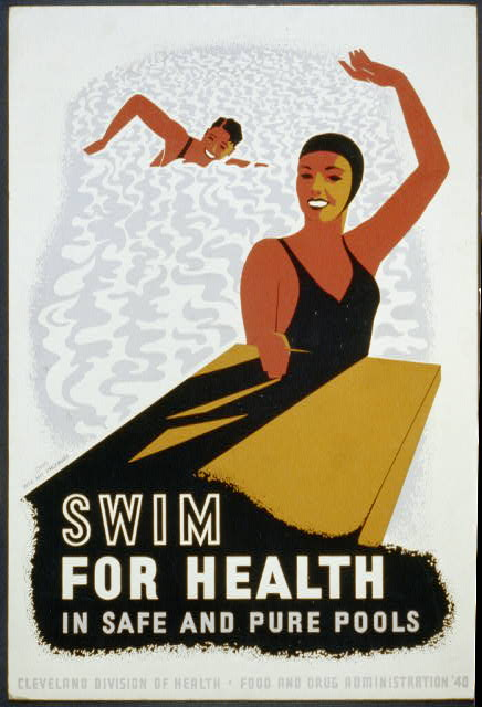 advertising, wpa, sports, vintage, vintage posters, retro prints, food and drug administration, Swim for Health in Safe and Pure Pools - Vintage Poster - Cleveland - Food and Drug Administration 1940