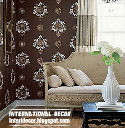 Modern Living Room Wallpaper Brown Patterned Design Ideas