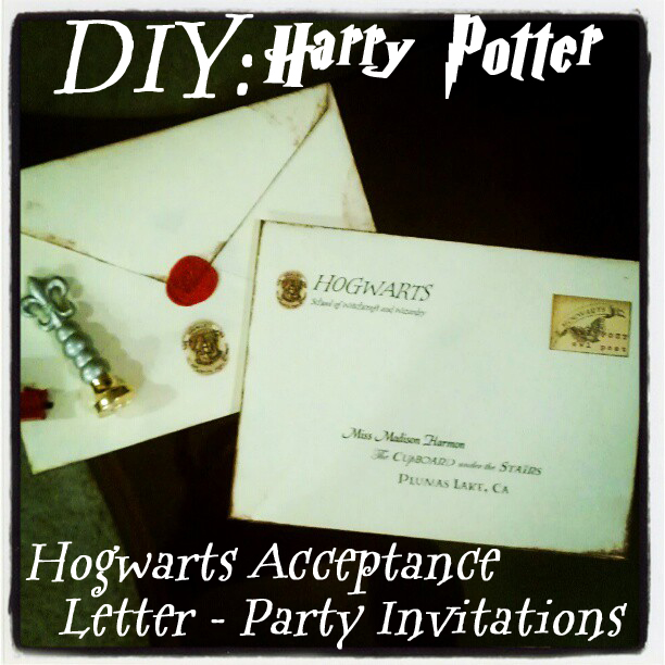 Each Envelope Contains One Ticket To The Hogwarts Express Customized Our Home Town And Party Location In Photoshop An Acceptance Letter From