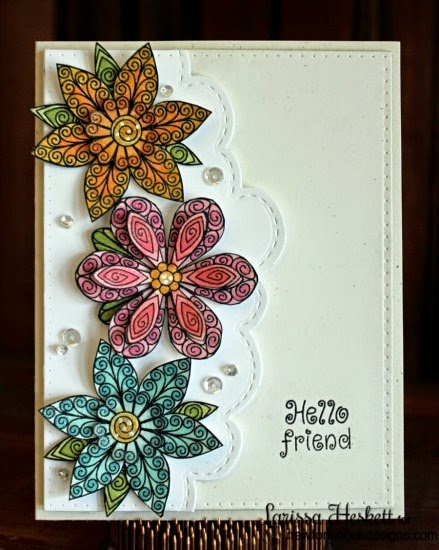 Layered flower card by Larissa Heskett | Beautiful Blossoms stamp set by Newton's Nook Designs