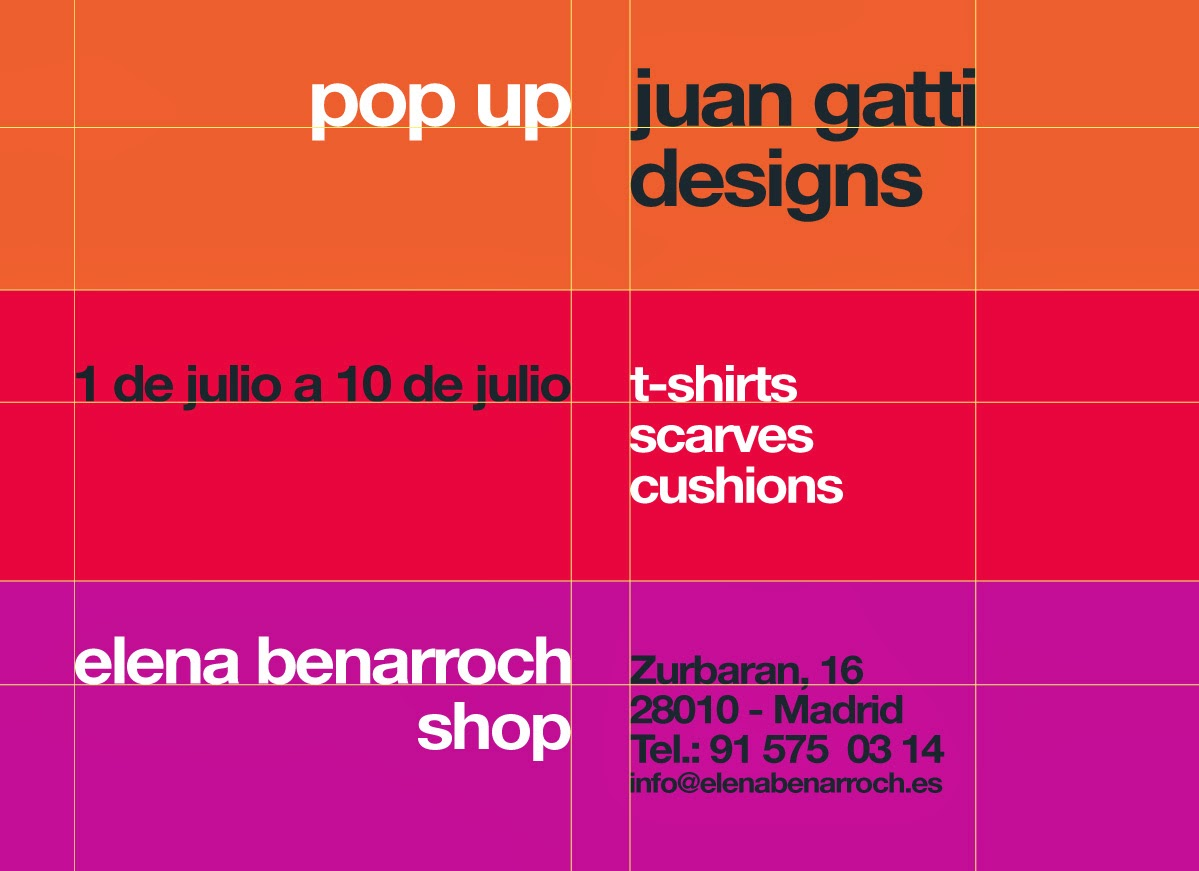 Pop Up Juan Gatti Desings 1 a 10 de Julio en Elena Benarroch Shop