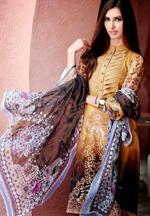 Gul Ahmed Digital Silk Collection 2014