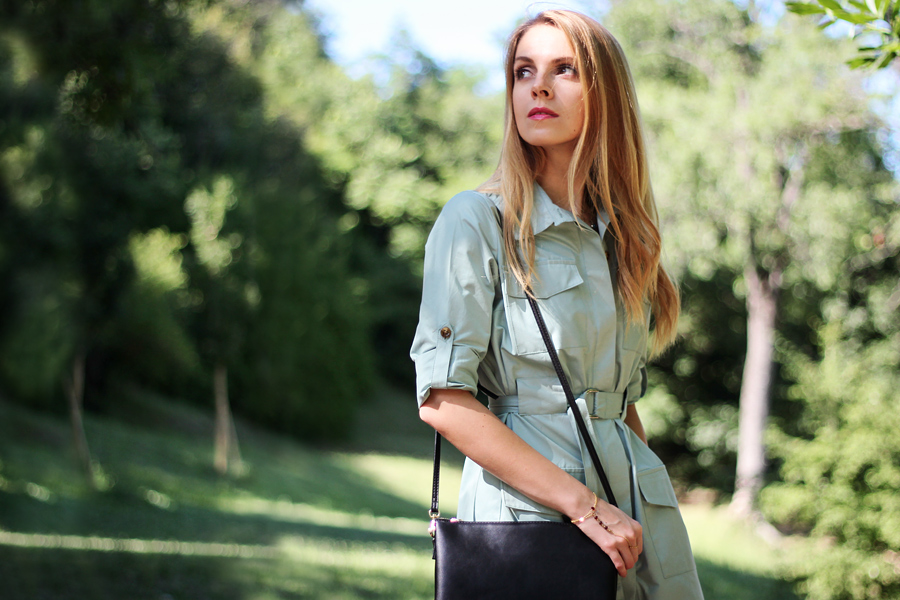Belted shirt dress, casual summer outfit