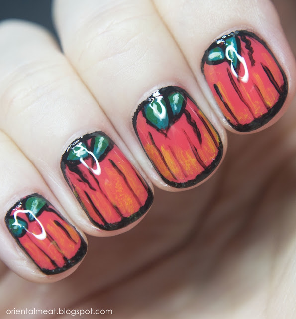 Halloween nail art #3 Pumpkin