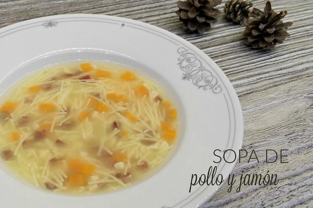 Receta fácil sopa pollo y jamón