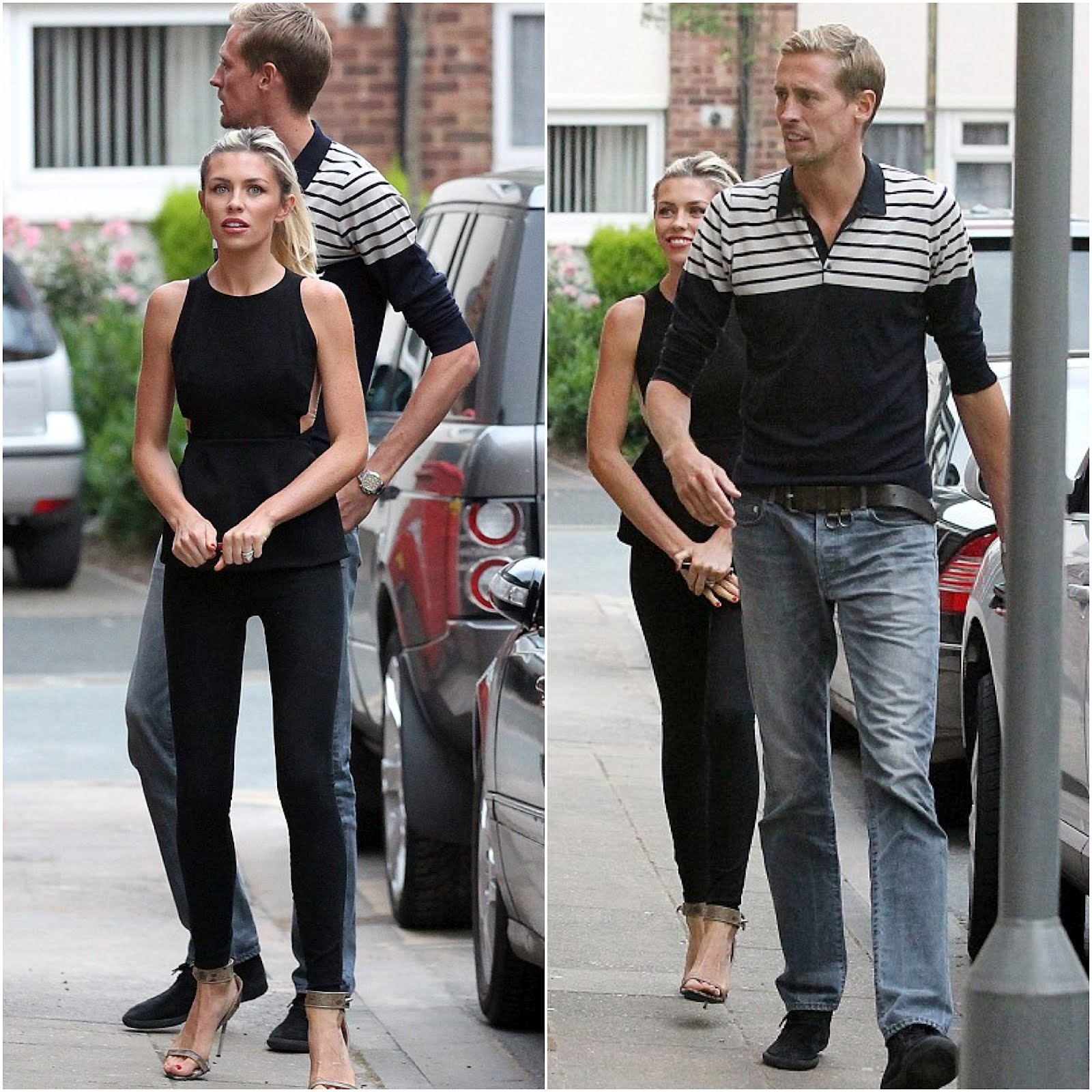 00O00 London Menswear Blog celebrity style Peter Crouch and Abbey Clancy The Grill On The Edge in Alderley Edge, Peter Crouch in John Smedley Fischer merino wool polo t-shirt available from Mr Porter
